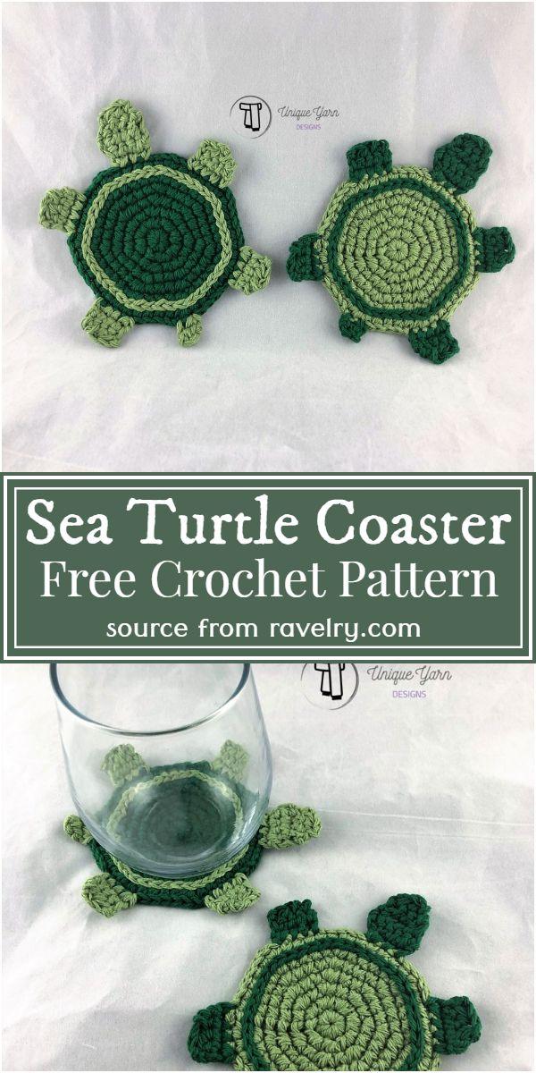 Sea Crochet Turtle Coaster Pattern