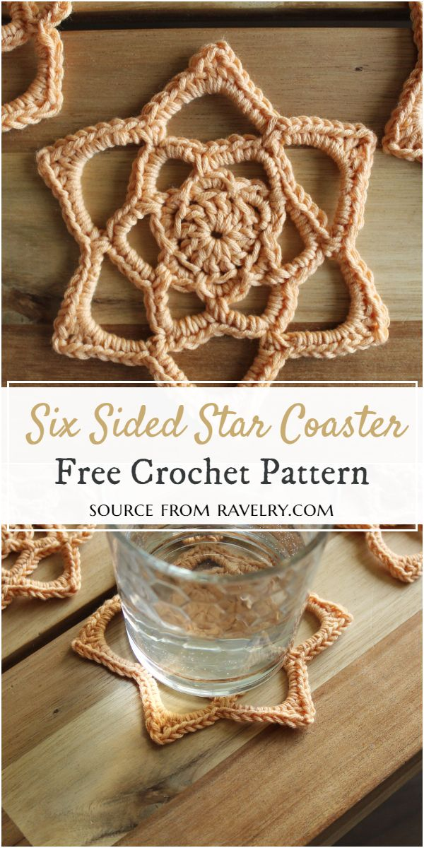 Six Sided Star Crochet Coaster Pattern