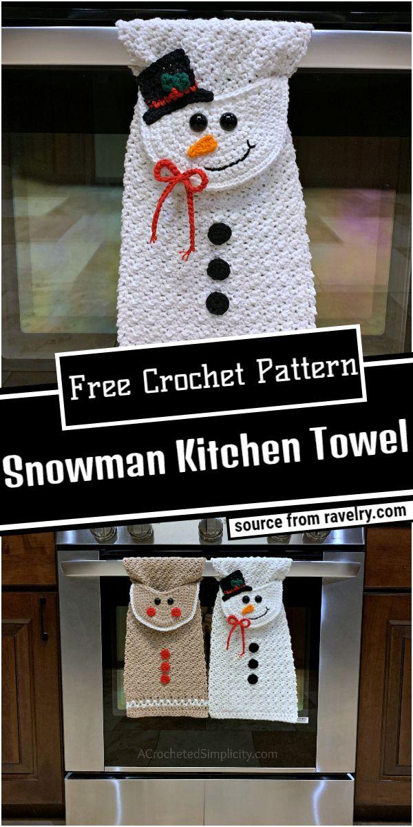 Snowman Crochet Kitchen Towel Pattern