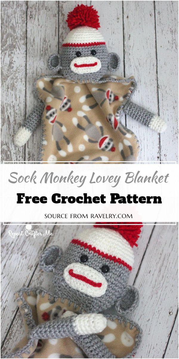 Sock Crochet Monkey Lovey Blanket Pattern