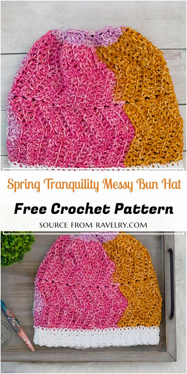 Spring Tranquility Messy Bun Crochet Hat Free Pattern