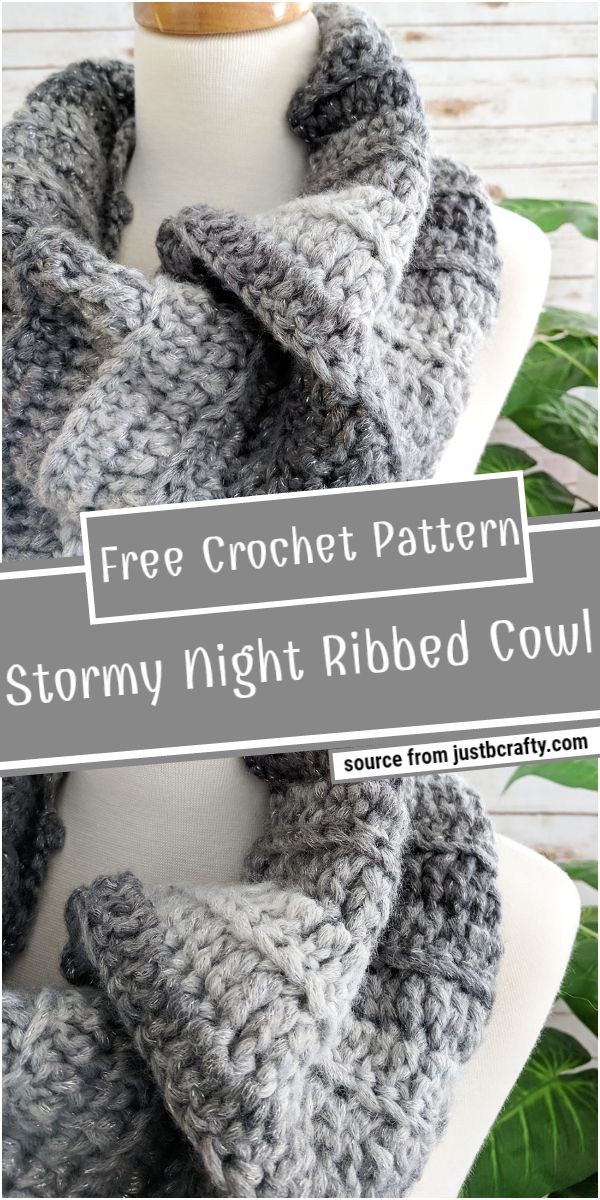 Stormy Night Crochet Ribbed Cowl Free Pattern