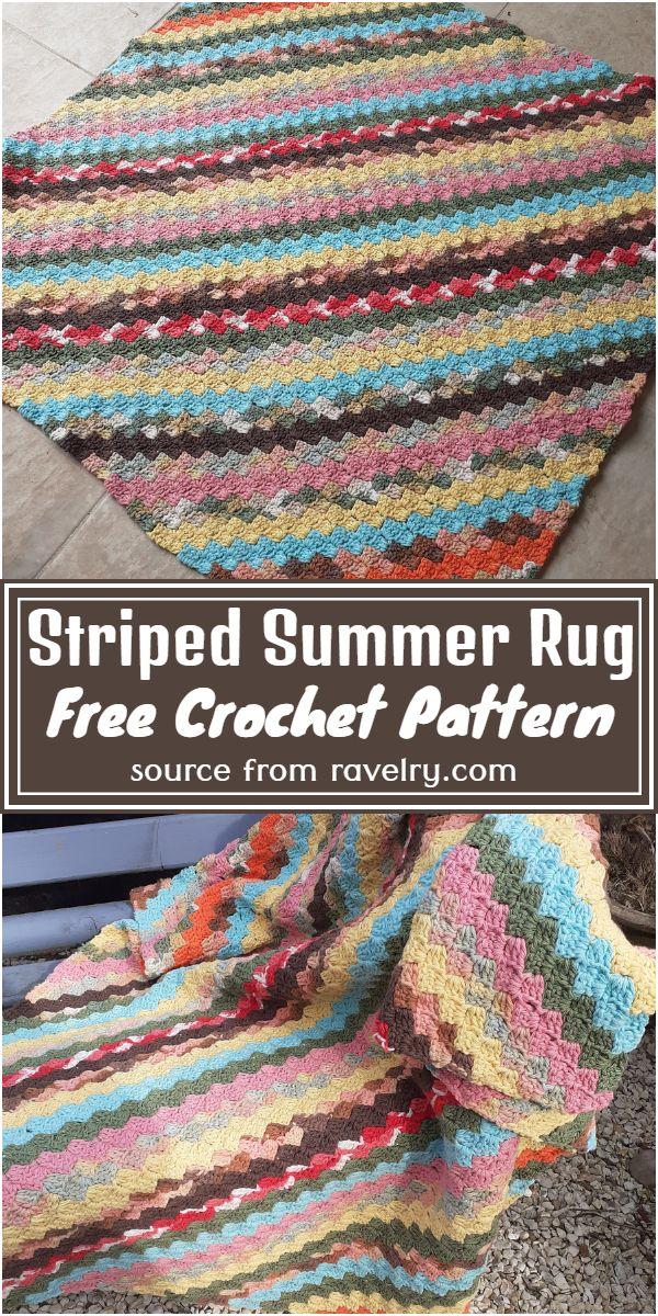 Striped Summer Rug Crochet Pattern