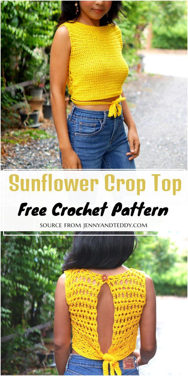 Sunflower Crop Crochet Top Free Pattern