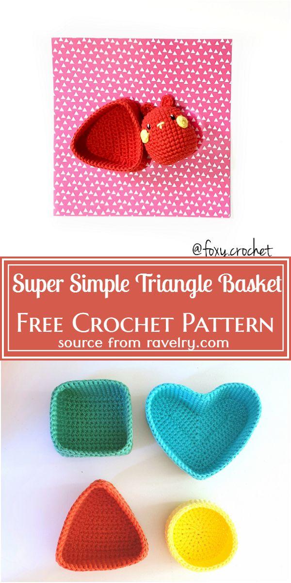 Super Simple Triangle Basket Crochet Pattern