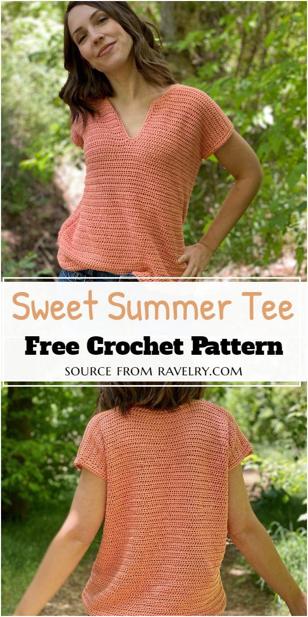Sweet Crochet Summer Tee Free Pattern