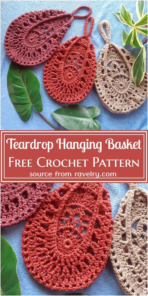 Teardrop Hanging Basket Crochet Pattern