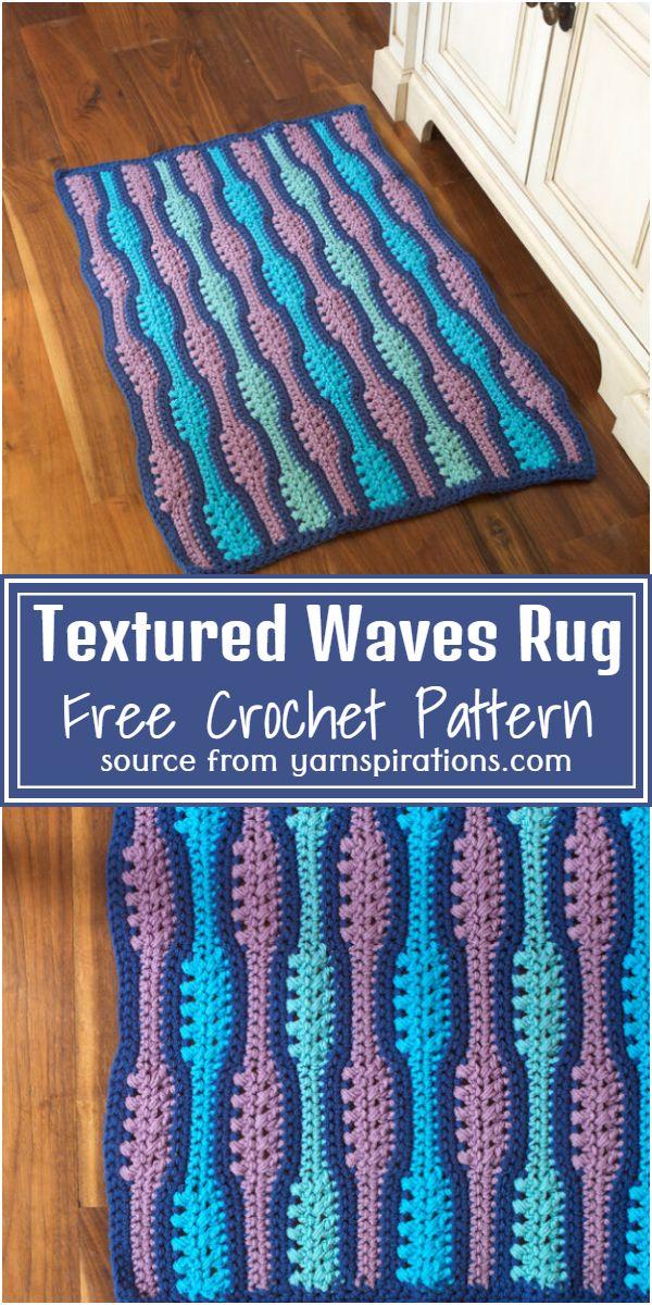 Textured Waves Crochet Rug Free Pattern