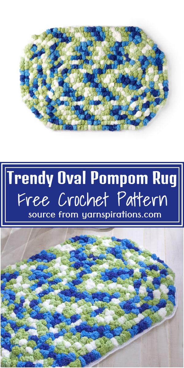 Trendy Oval Crochet Pompom Rug Pattern