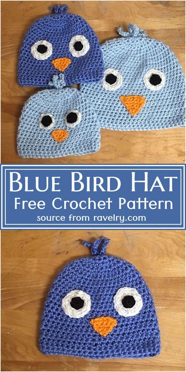 Blue Bird Hat Crochet Pattern