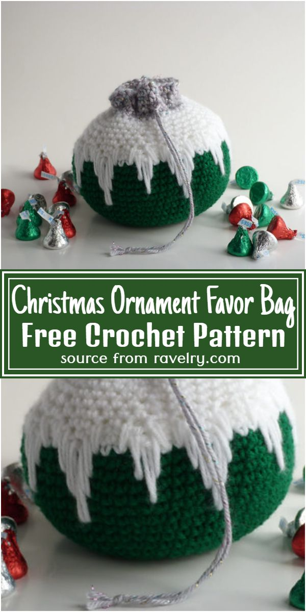 Christmas Ornament Favor Bag Crochet Pattern