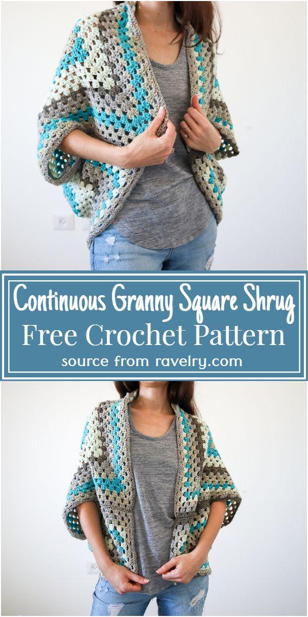 Continuous Granny Square Crochet Shrug Pattern