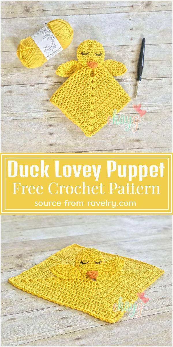 Duck Lovey Puppet Crochet Pattern