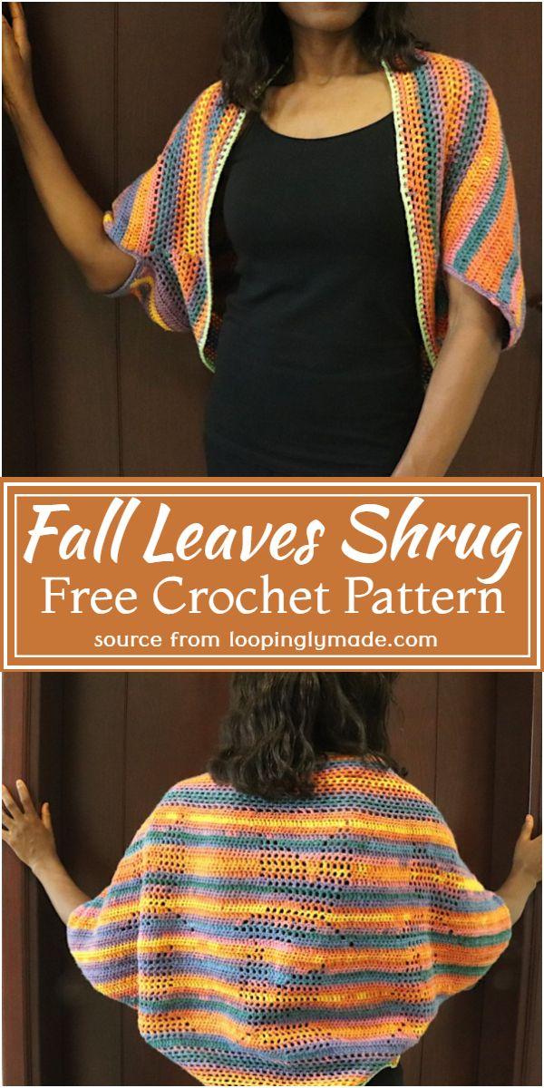 Fall Leaves Crochet Shrug Pattern For Women