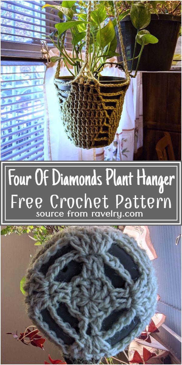 Four Of Diamonds Plant Hanger Crochet Pattern