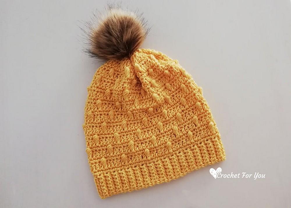 Free Crochet Bobble Drops Pompom Hat Pattern