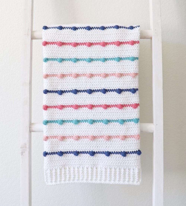 Free Crochet Bobble Lines Baby Blanket Pattern