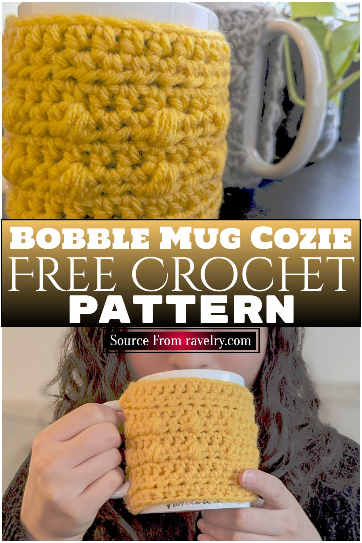 Free Crochet Bobble Mug Cozie Pattern