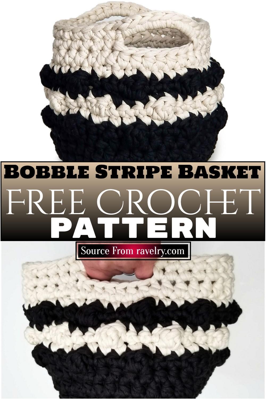 Free Crochet Bobble Stripe Basket Pattern
