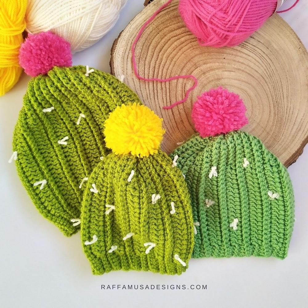 Free Crochet Cactus Beanie Pattern