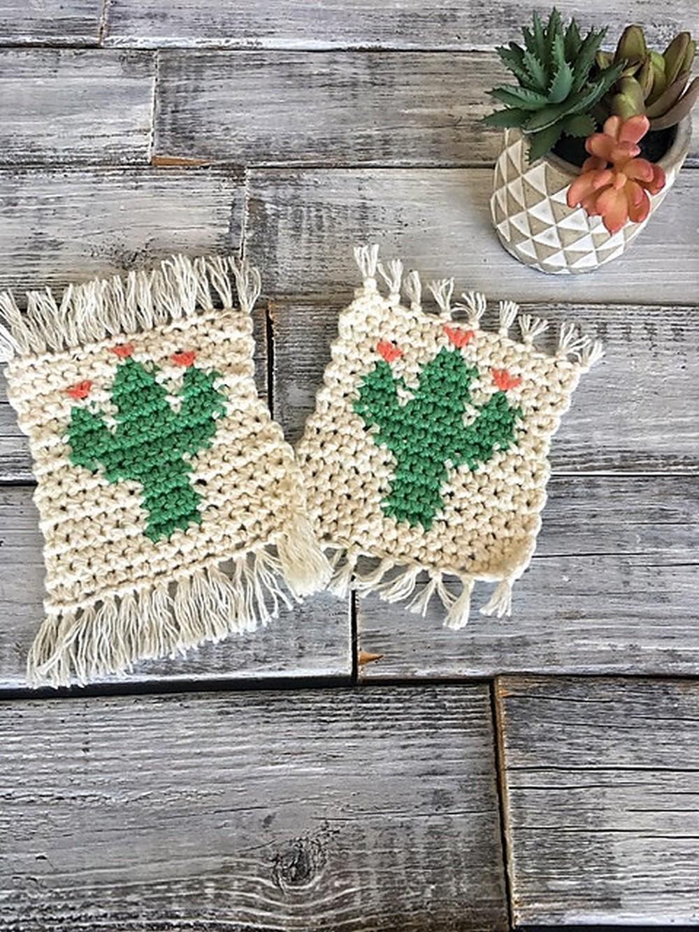 Free Crochet Cactus Coasters Pattern