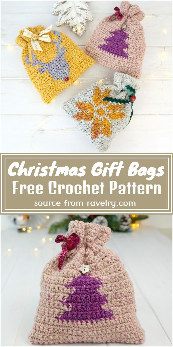 Free Crochet Christmas Gift Bags Pattern