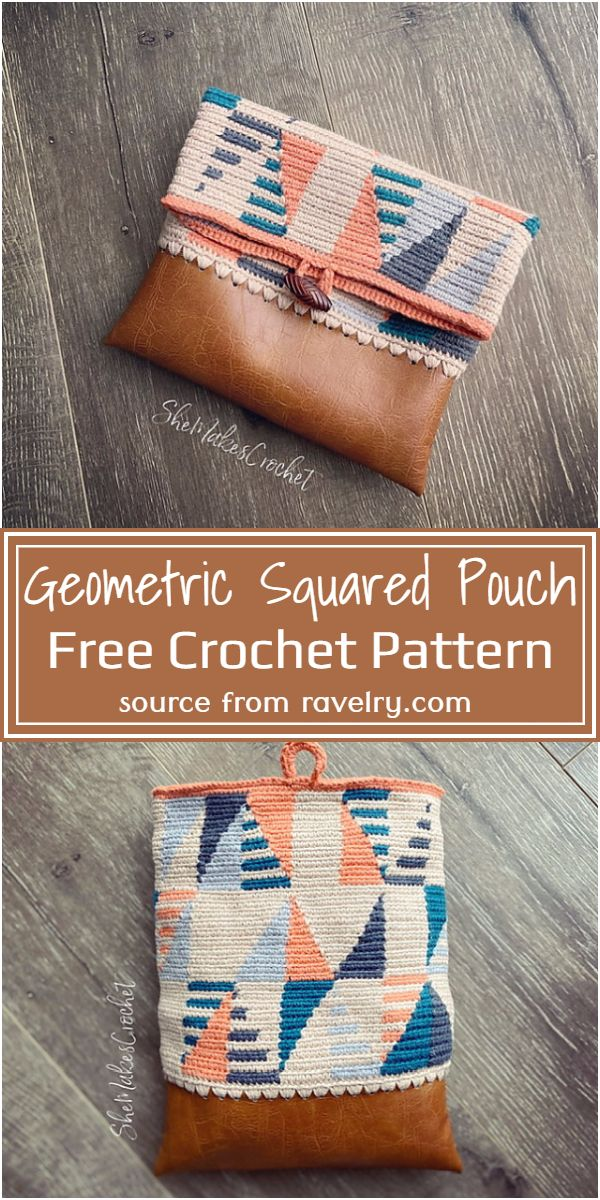 Free Crochet Geometric Squared Pouch Pattern