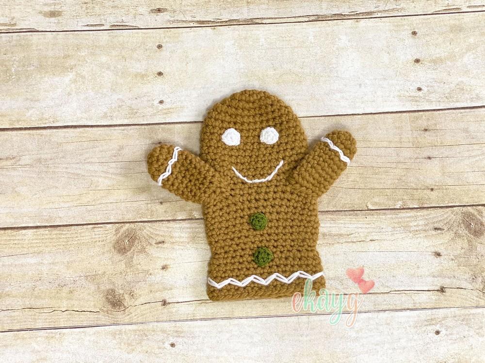 Free Crochet Gingerbread Man Hand Puppet Pattern