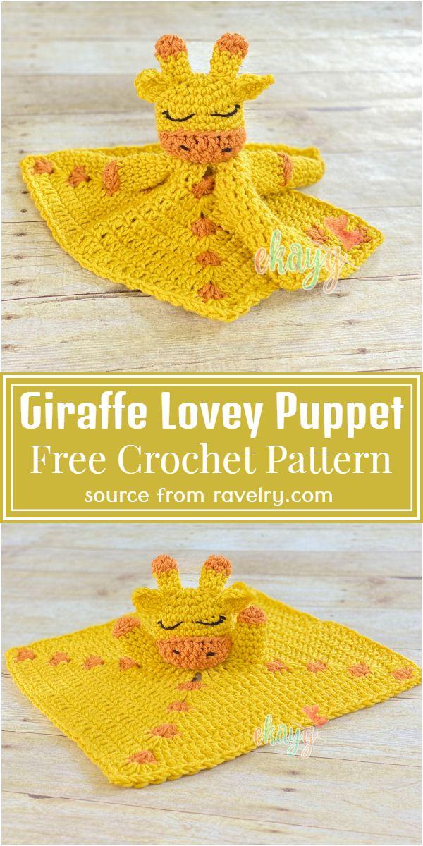 Free Crochet Giraffe Lovey Puppet Pattern