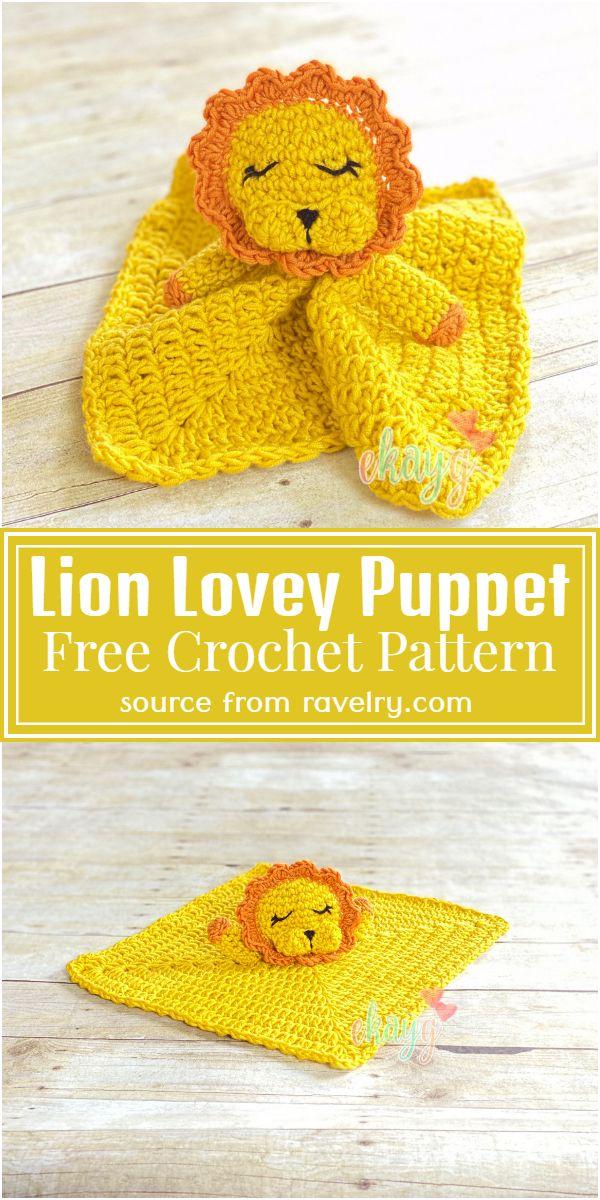 Free Crochet Lion Lovey Puppet Pattern