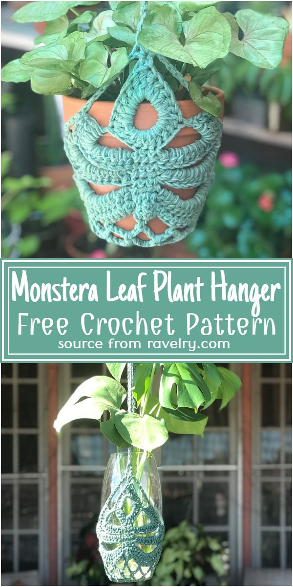 Free Crochet Monstera Leaf Plant Hanger Pattern
