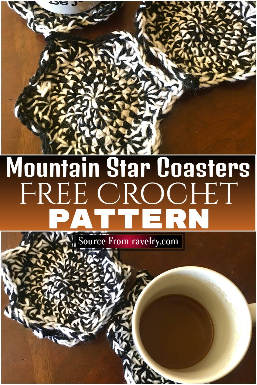 Free Crochet Mountain Star Coasters Pattern