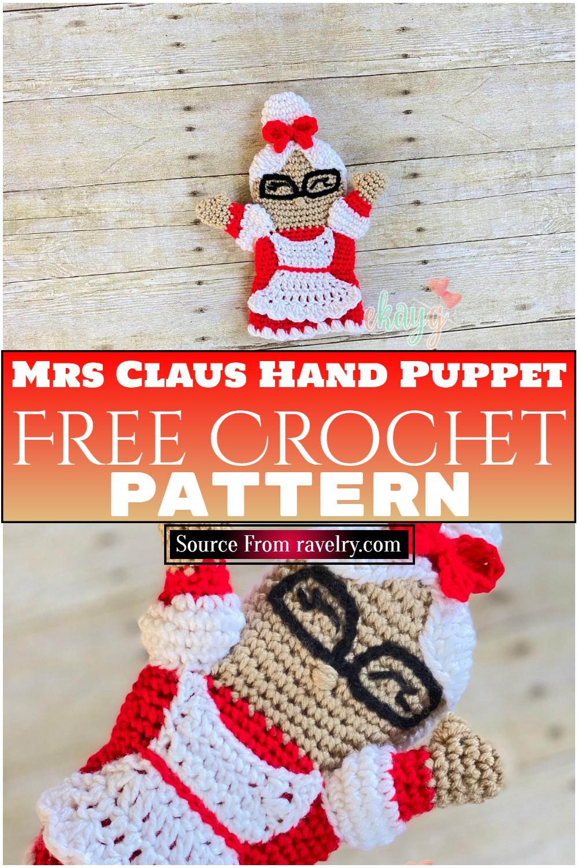 Free Crochet Mrs Claus Hand Puppet Pattern