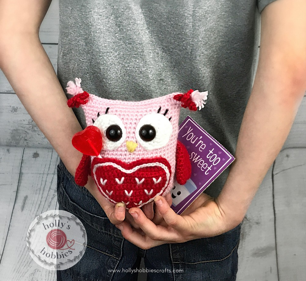 Free Crochet Owl Always Love You Valentine Caddy Pattern