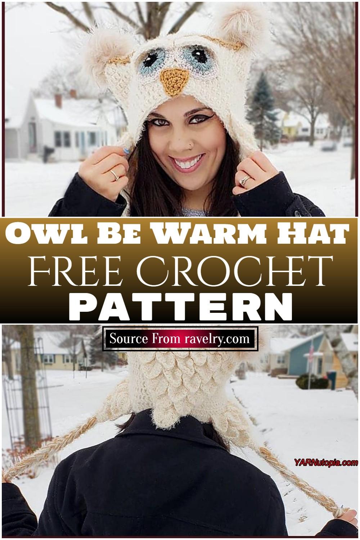 Free Crochet Owl Be Warm Hat pattern