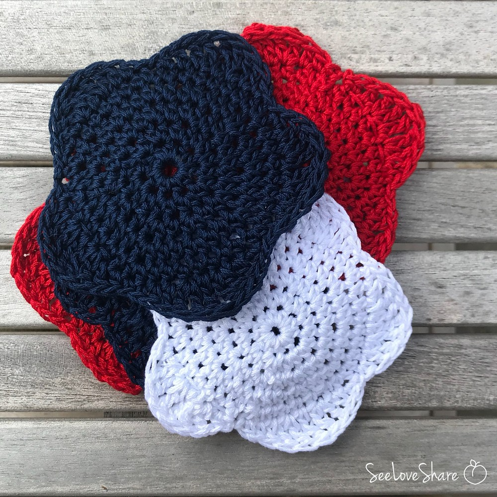 Free Crochet Patriotic Red White And Blue Star Coasters Pattern