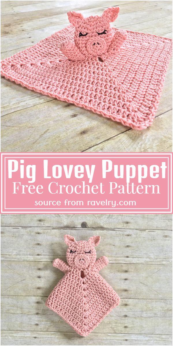 Free Crochet Pig Lovey Puppet Pattern