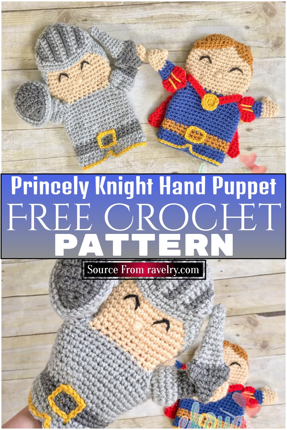 Free Crochet Princely Knight Hand Puppet Pattern