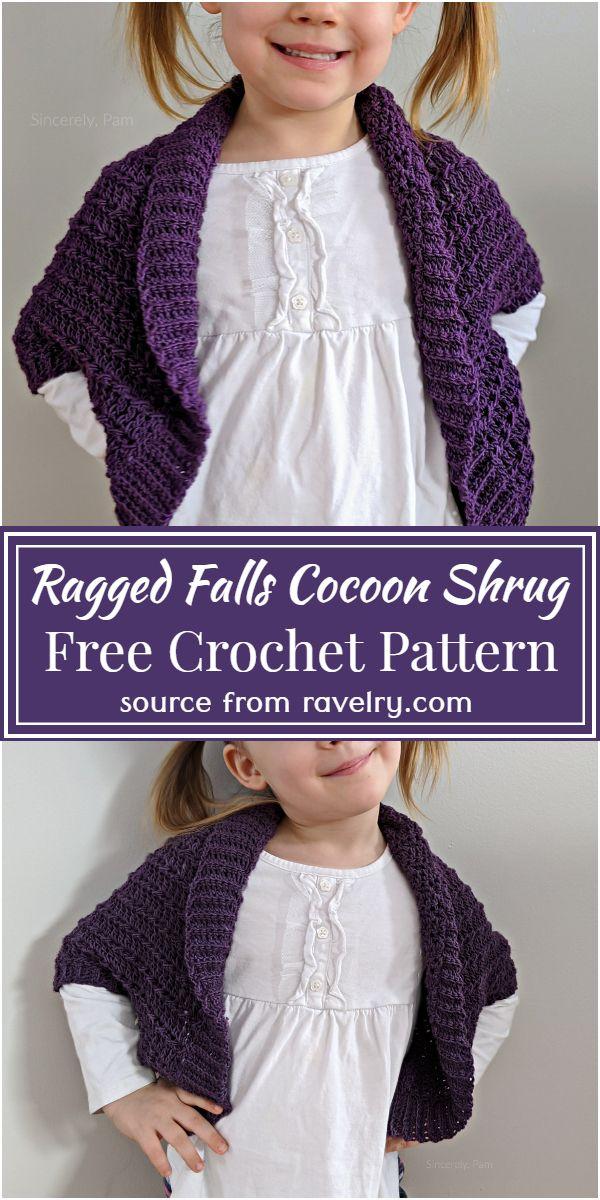 Free Crochet Ragged Falls Cocoon Shrug Pattern