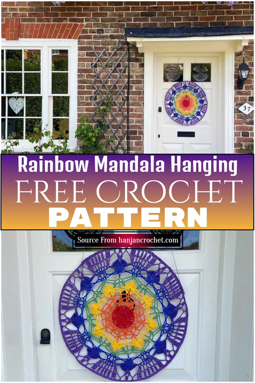 Free Crochet Rainbow Mandala Hanging Pattern: