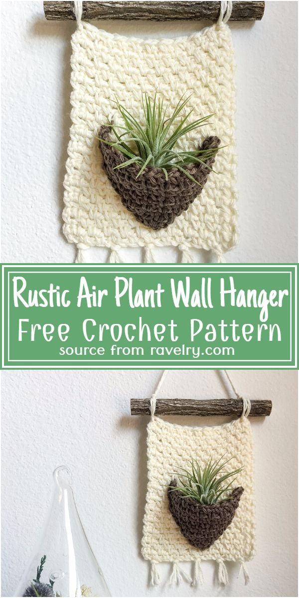 Free Crochet Rustic Air Plant Wall Hanger Pattern