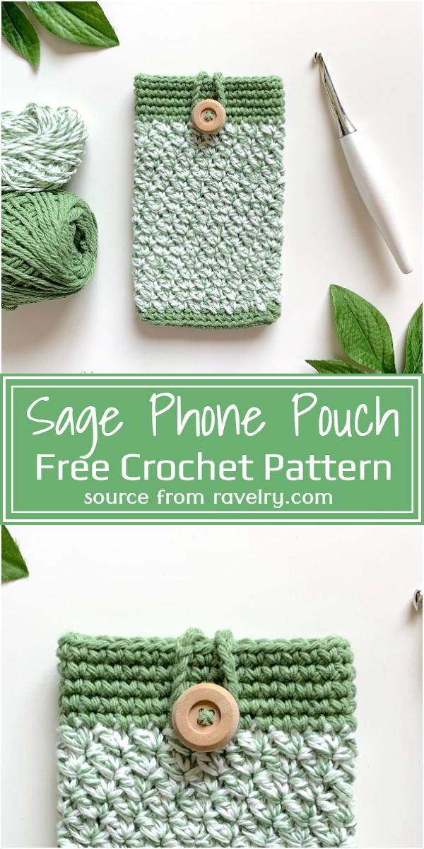 Free Crochet Sage Phone Pouch Pattern