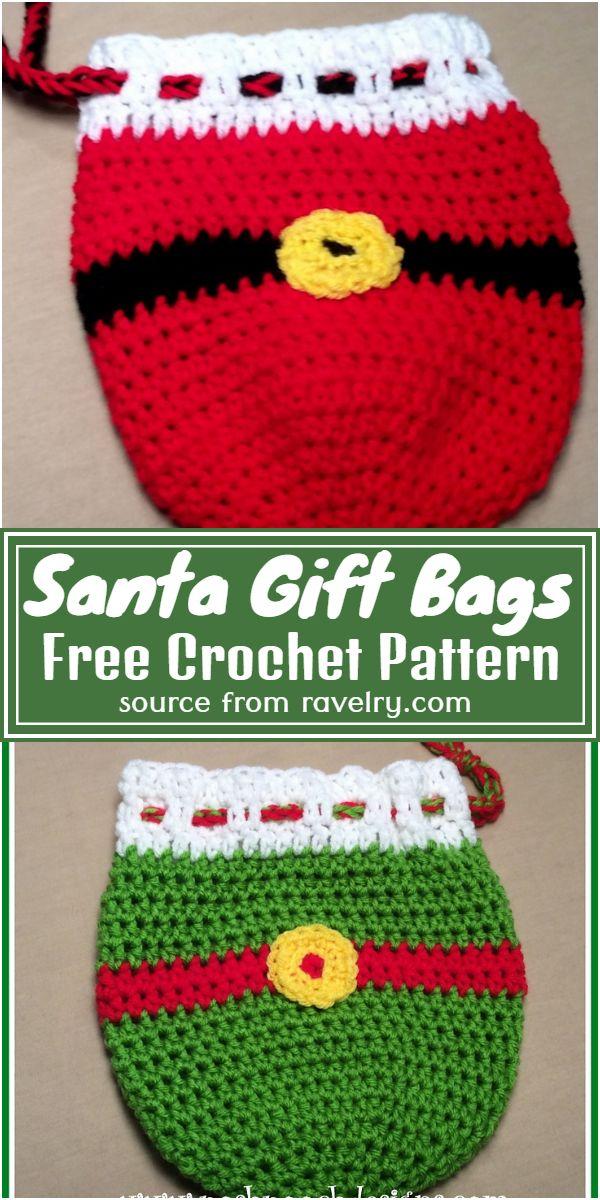 Free Crochet Santa Gift Bags Pattern