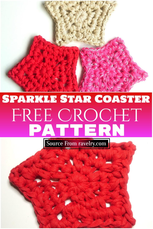 Free Crochet Sparkle Star Coaster Pattern