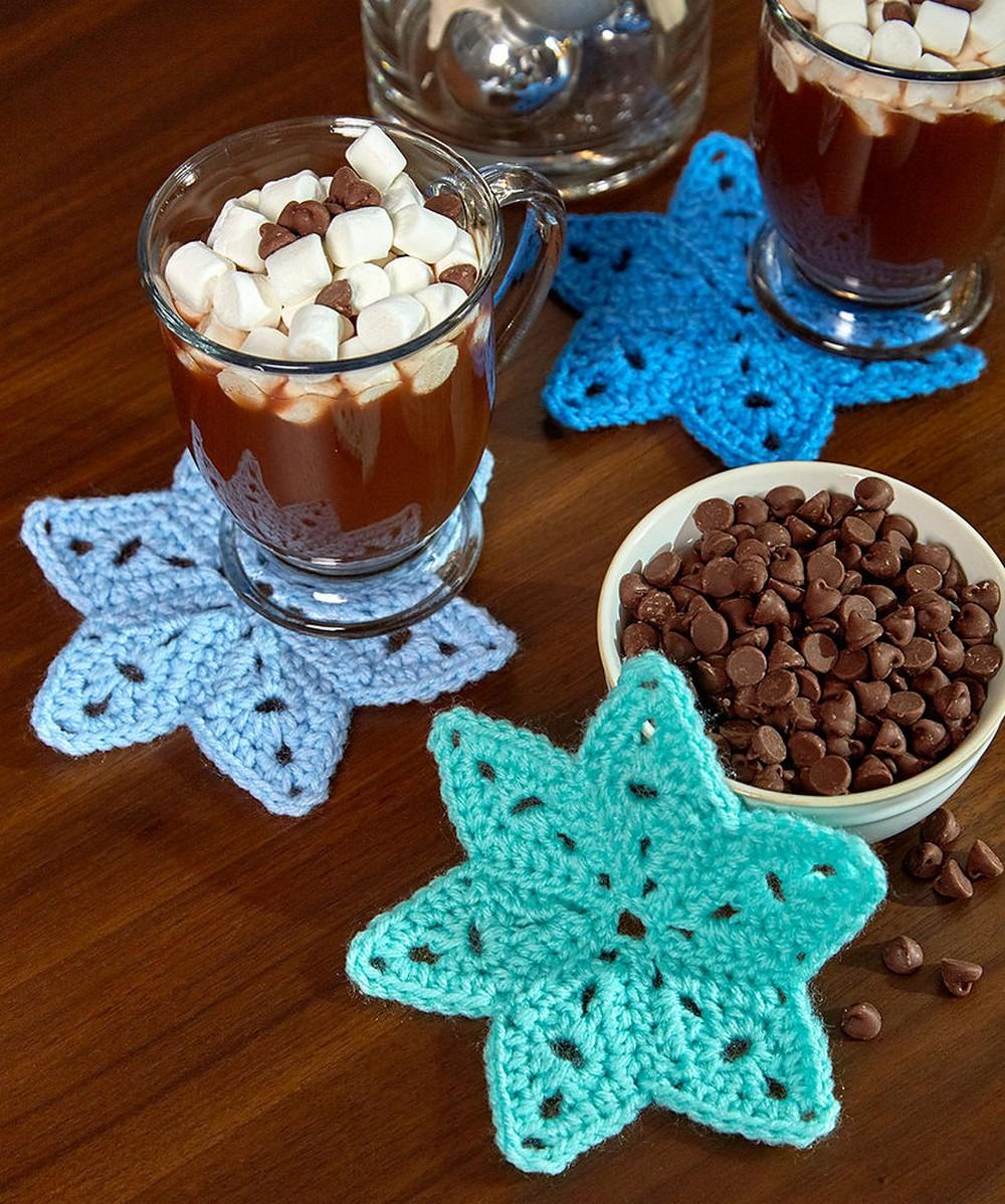Free Crochet Star Coasters Pattern