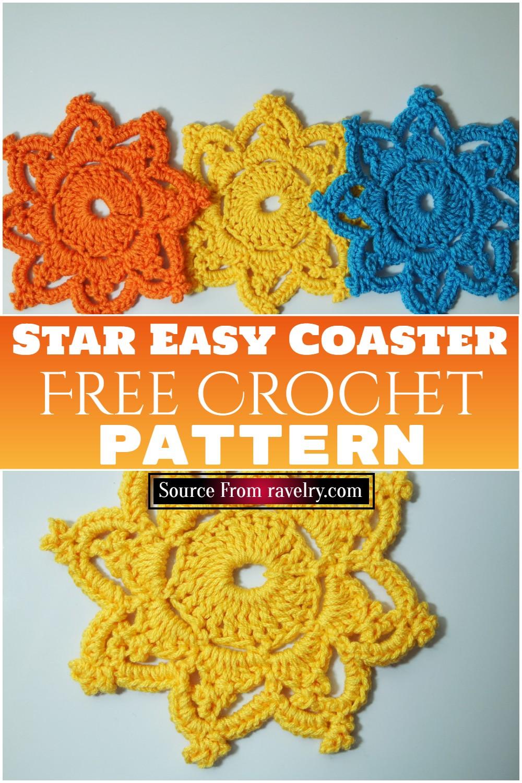 Free Crochet Star Easy Coaster Pattern