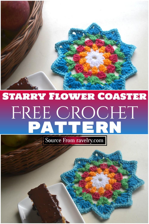 Free Crochet Starry Flower Coaster Pattern