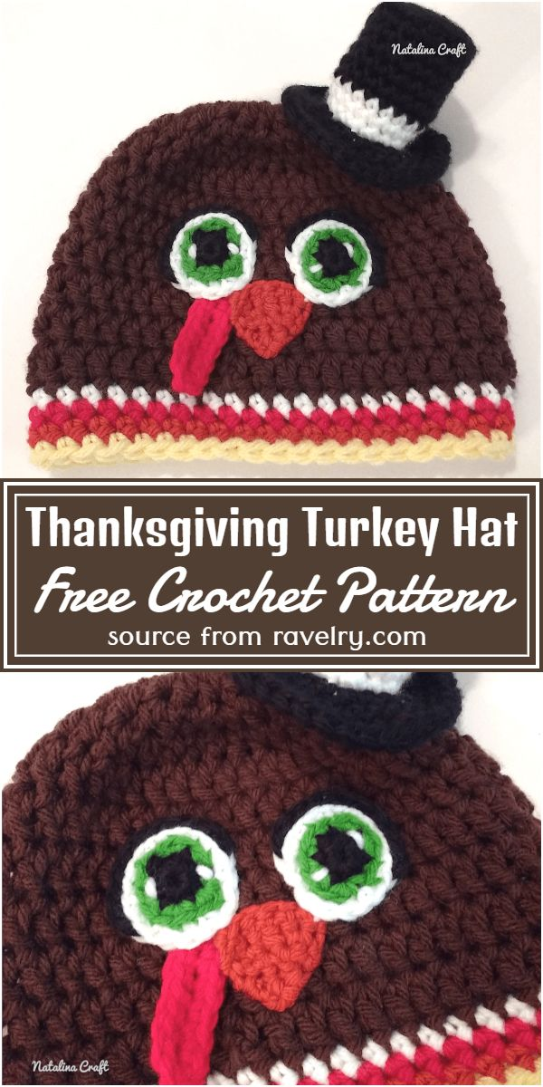 Free Crochet Thanksgiving Turkey Hat Pattern