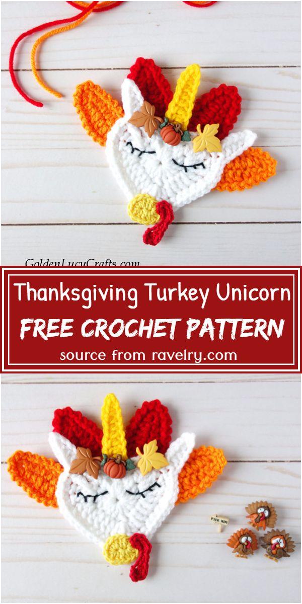Free Crochet Thanksgiving Turkey Unicorn Pattern