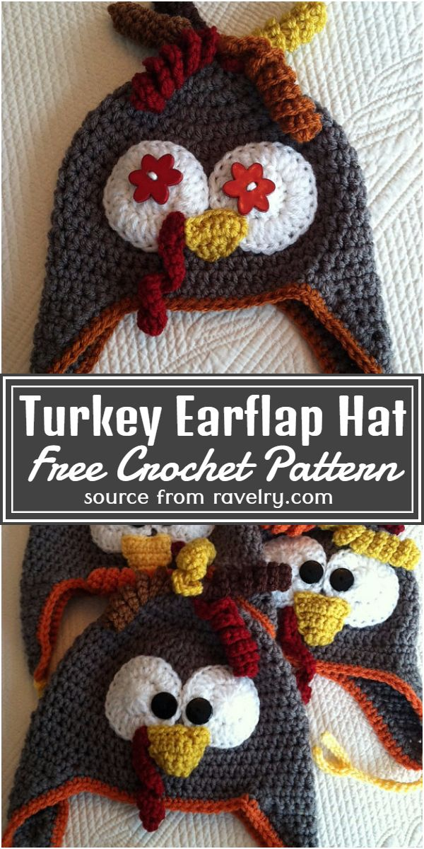 Free Crochet Turkey Earflap Hat Pattern